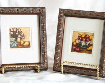 etchings intaglio aquatint prints by listed artist sarah rishel miniature still lifes framed