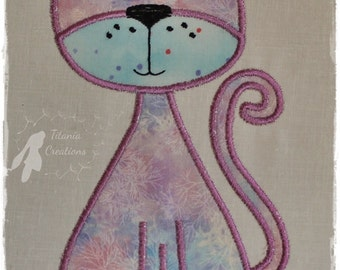 Applique Whimsical Cat Machine Embroidery Design Pattern for 5x7 Hoop by Titania Creations, Instant Download.