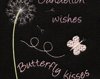 Dandelion Wishes Butterfly Kisses Machine Embroidery Design Pattern for 5x7 hoop by Titania Creations. Instant download.