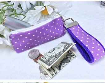 Purple Polka Dots Mini Key Fob and Zipped Lipstick / Coin Purse Set, Essential Oil Case, Earbuds Headphones Case, Mother's Day Gift