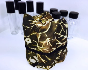 Brown Batik Essential Oil Bag, 5 Bottle Rollup Living Oil Bag, Essential Oil Travel Case, Essential Oil Case, Tall Roller Bottles,
