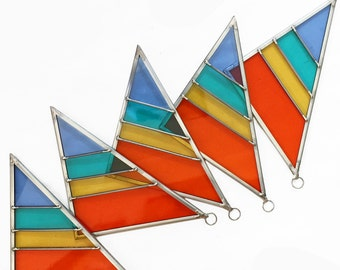 Classic Rainbow Stained Glass Triangle Ornament - Debbie Bean