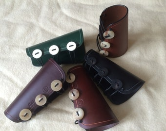 Archery Wrist Bracer with Bone, Horn or Antler Buttons. Handmade from 3.5mm Leather