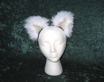 White Faux Fur Wolf Canine Ears - (Small or Large)