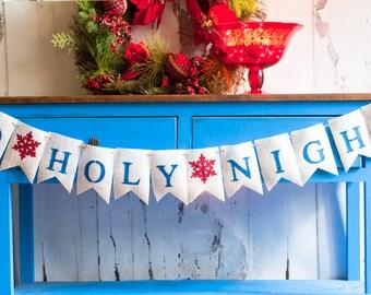 O Holy Night Banner, Christmas Banner, Christmas Decor, Holiday Decor, Holy Night Burlap Banner, B162