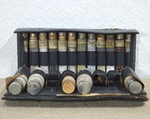Antique Apothecary Bottles in Leather Case- 17 Glass Homeopathy Vials with Pills- Early 1900s Century Medical Equipment, Oddities & Curios