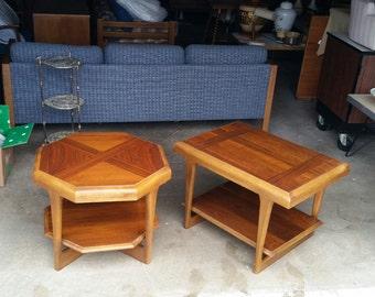 Pair Vintage 1970's Lane Walnut Side Tables Mid Century Modern Sculpted Design Original Finish MCM