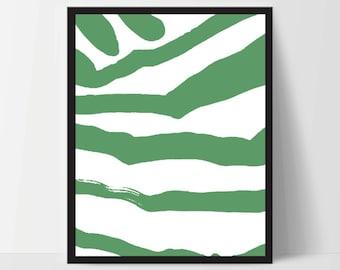 Abstract Zebra, Wall Art, Artwork, Home Decor, Modern Print, Print Art, Instant Download, Green, Nursery, Baby, Digital Print