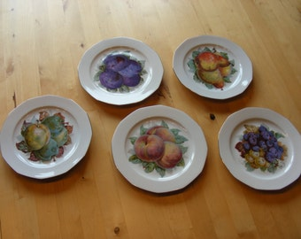 Set of 6 Princess China Belwood Bavaria fruit plates, dessert plates