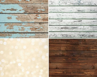 "FREE EXPEDITED SHIPPING And Insurance ! Four 2""x2"" Mix And Match Vinyl Backdrops for Product Photos, Green White Brown Wood Cream Bokeh Fl85"