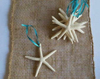 Starfish Ornaments, Beach Christmas Ornaments, SET OF 6 - Mini 2-3 IN Glittered Starfish Christmas Ornaments