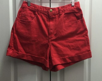 Red Orange High Waist Shorts