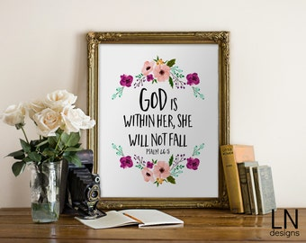 Instant 'God is within her, she will not fall' Psalm 46:5 Bible Verse 8x10 Wall Art Print Home Decor