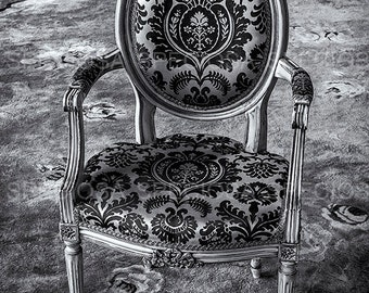 Antique Baroque armchair, Baroque, Victorian, classic, art print, photography, black and white, chair, digital download, wall decoration