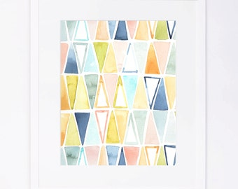 Colorful Triangles Pattern Watercolor Print