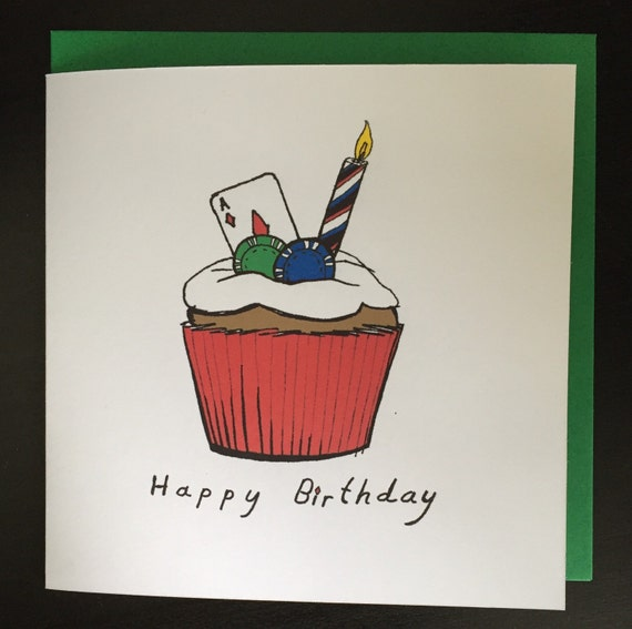 Birthday Card Happy Birthday Card Cupcake Poker By Asodesigns