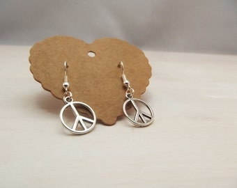 Peace Sign Dangle Earrings - FREE UK SHIPPING