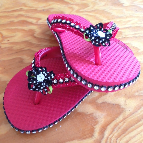 Black Flip Flops With Ribbons 39