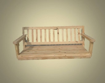 Porch Swing Pine Wood 4' Rolled Front Deck Patio Yard Furniture Handmade