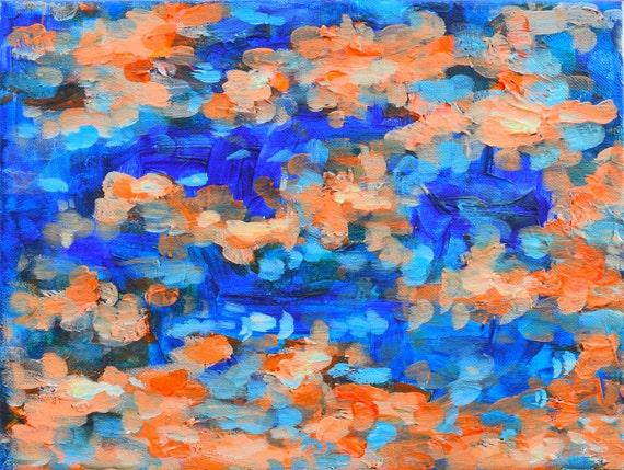 original abstract painting blue orange. Black Bedroom Furniture Sets. Home Design Ideas