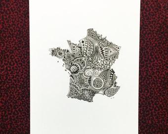 France Outline 8.5x11in Art Print