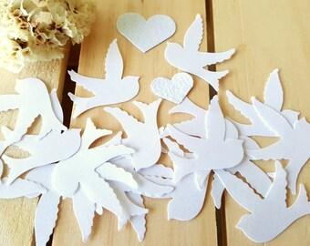 Dove confetti.Wedding confetti,Bird confetti, Bridal Shower Decoration, Dove and heart confetti, Glitter Heart Confetti, Small dove die cuts