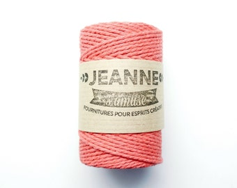 """1 x 50 m rope reel """"Bakers twine"""" red coral, 2-wire, 2 mm"""