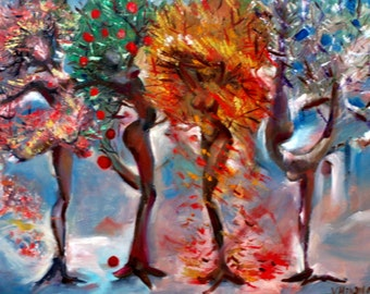 dance -  seasons - large - original paintings - portrait - woman - red - expressionism - contemporary - figurative art - surrealism - fun