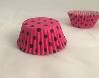 Hot Pink black polka dot baking cupcake liners #25
