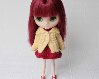 Light yellow sweater for Middie blythe, Wool jacket, Puki Fee yellow sweater, Hand knitted mini doll clothes, Middie blythe yellow outfit
