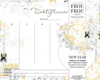 Party Weekly Planner Instant Download Printable Watercolor To Do List Gold Desk Organizer New Year Resolution Scheduler Champagne Agenda