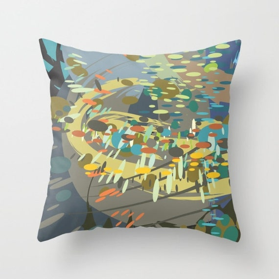 Modern Art Pillow : Decorative throw pillow Modern abstract art green blue