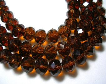 10mm X 8mm Brown Crystal Rondelles 8x10mm Faceted Brown Glass Root Beer Beads Clear Brown Crystal Rondelles Sparkly 20 Inches 70 Beads