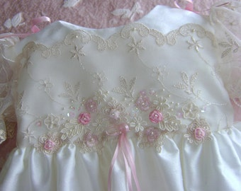 "A Beautiful Silk & Lace Embellished Christening Gown - ""Helen"""