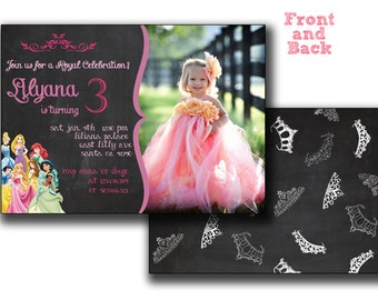 All Disney princesses in Chalkboard birthday card,All Princesses Disney Invitation,Princess Birthday,Princess Printable,girl birthday chalk