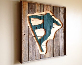 Snowboarder Wall Hanging from Reclaimed Wood