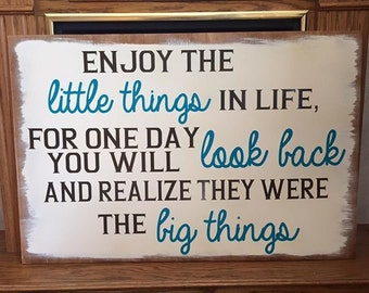 Enjoy the Little Things Sign, Wooden Vinyl Home Sign