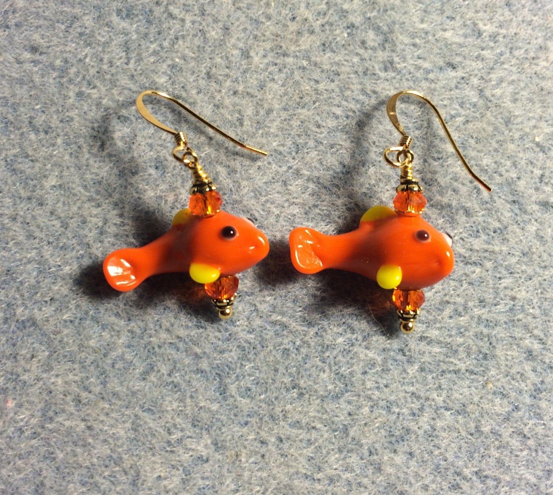 Orange and yellow lampwork koi fish bead earrings adorned with for Orange koi fish