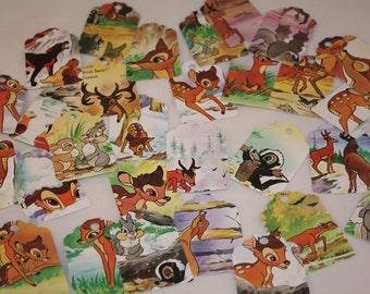 Die Cut Repurposed Children's Disney's Bambi Book Tags (Set of 12)