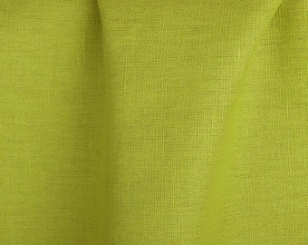 Linen-cotton fabrics /Bright green linen-cotton fabrics by the metres