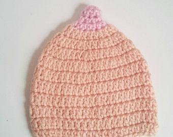 Boobie Beanie, breastfeeding lactivist boob hat