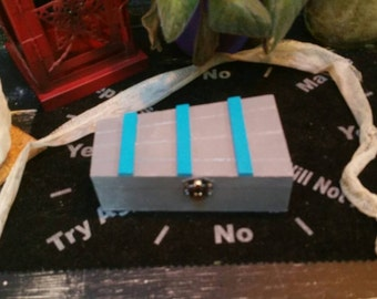 Rune Box, Coffin Box, Halloween Box, Hand Painted Wooden Rune Box, Jewelry Box, Storage or Display Container, Crystal Keepsake
