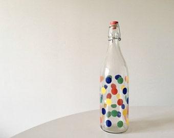 Vintage 1960's Italian Mod Polka Dot Glass Swing Top Bottle