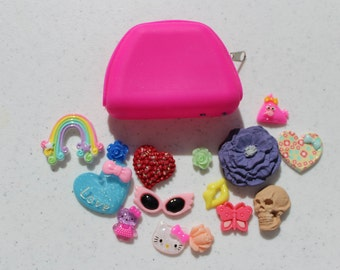 Pink Pouch and 15 Kawaii Cabochons