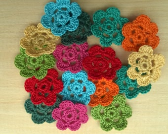 Small Crochet flowers colourful