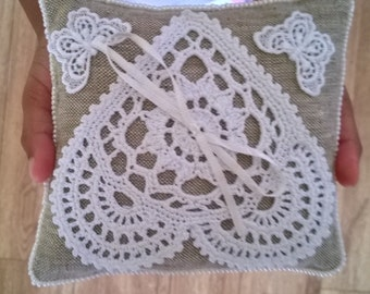 Rustic Wedding Lace Ring Pillow