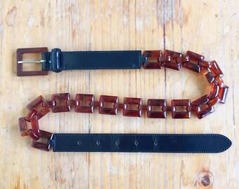 80s navy black patent leather tortoiseshell link belt vintage 60s style calfskin