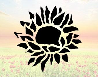 Sunflower Stencil Etsy