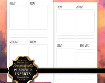 Planner Printable Insert Refill Undated WO2P Personal Size - Filofax Kikki K ColorCrush Erin Condren Size Full Boxes & Next Week (00234)