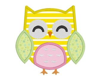 Owl Applique Design, Owl Machine Embroidery Design No: JG00081-3